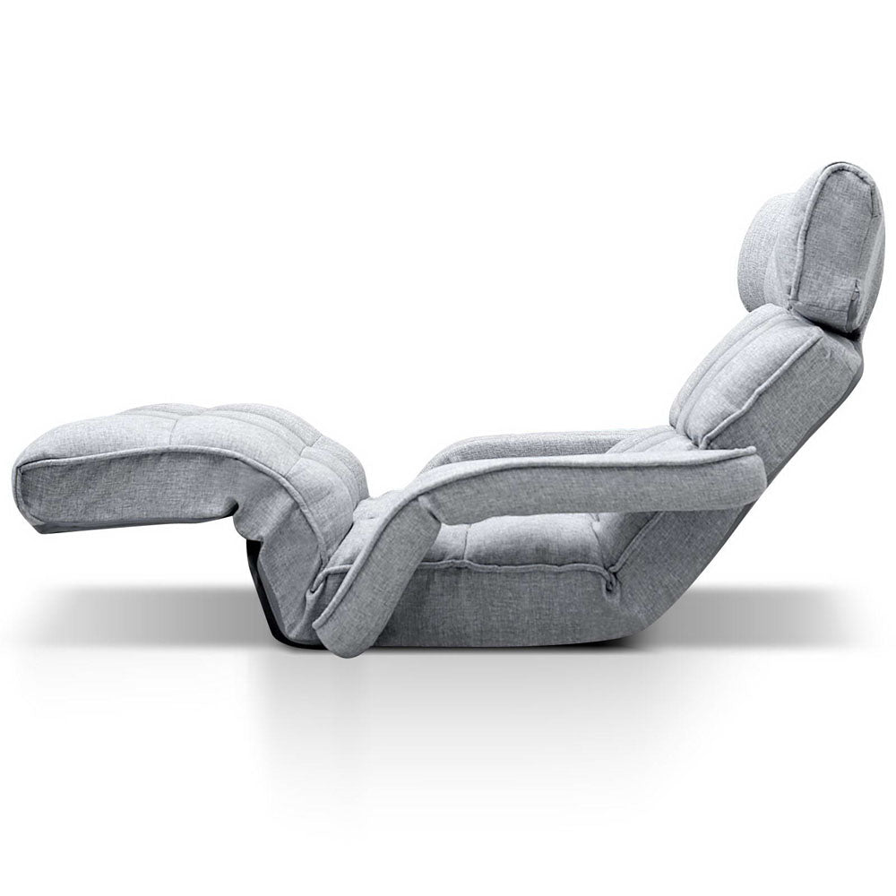 Artiss Adjustable Lounger with Arms - Grey