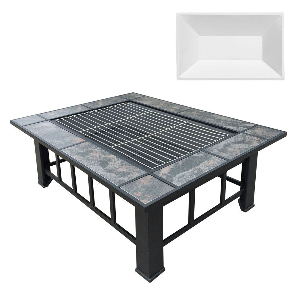 Grillz Outdoor Fire Pit BBQ Table Grill Fireplace with Ice Tray