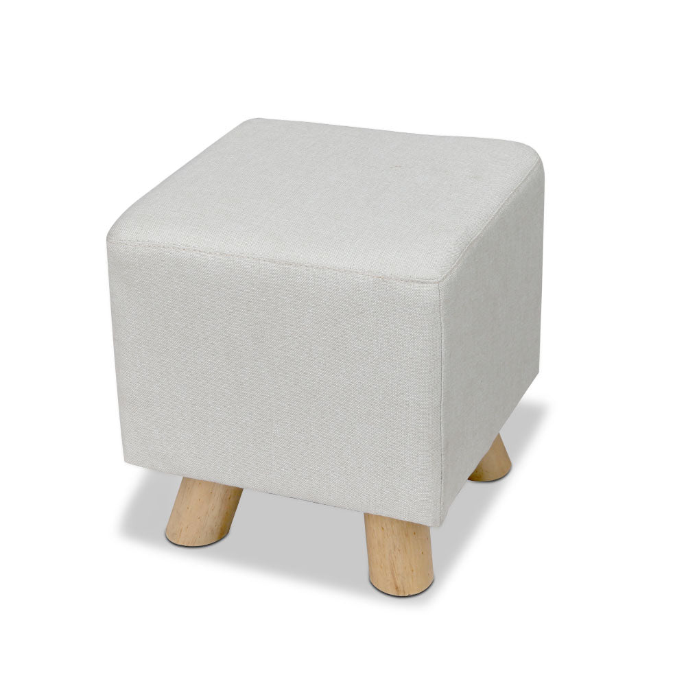Artiss Fabric Square Foot Stool - Beige