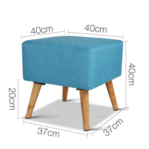 Artiss Fabric Square Foot Stool - Blue