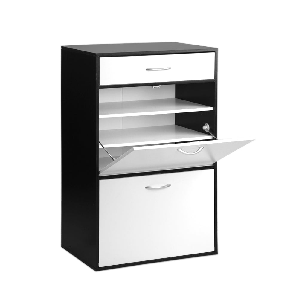 Artiss 6 Tier Shoe Cabinet - Black & White