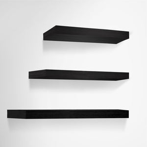 Artiss 3 Piece Floating Wall Shelves - Black