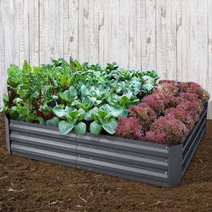 Greenfingers 2x Galvanised Steel Raised Garden Bed Instant Planter AlumGrey 150cmx90cm
