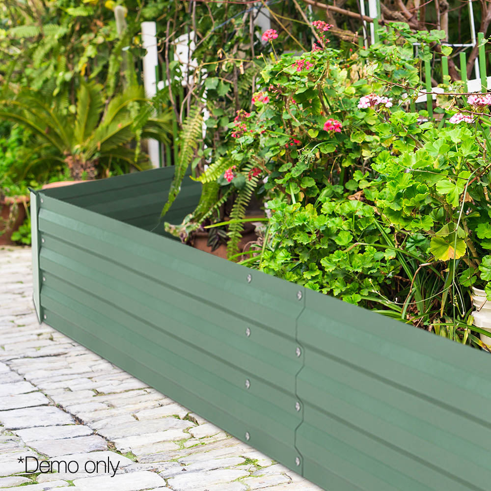 Greenfingers 2x Galvanised Steel Raised Garden Bed Instant Planter Green 150cmx90cm