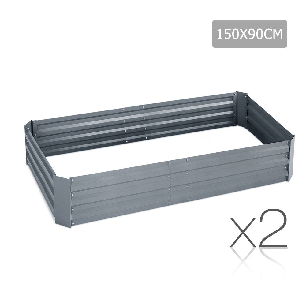 Green Fingers Set of 2 Galvanised Steel Garden Bed - Aluminium Grey