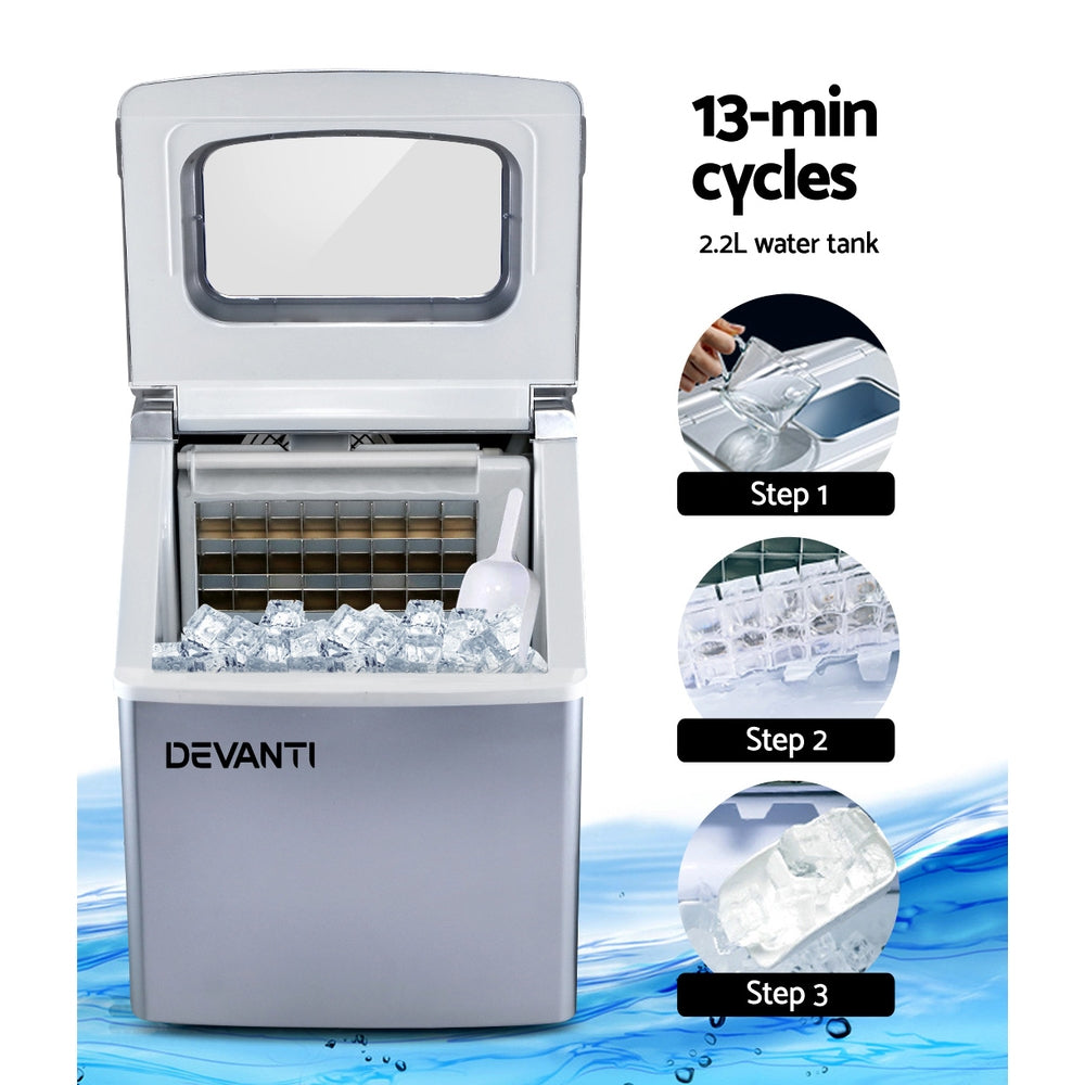 Devanti Portable Ice Maker Machine Commercial Square Ice Cube Countertop Silver 2.2L