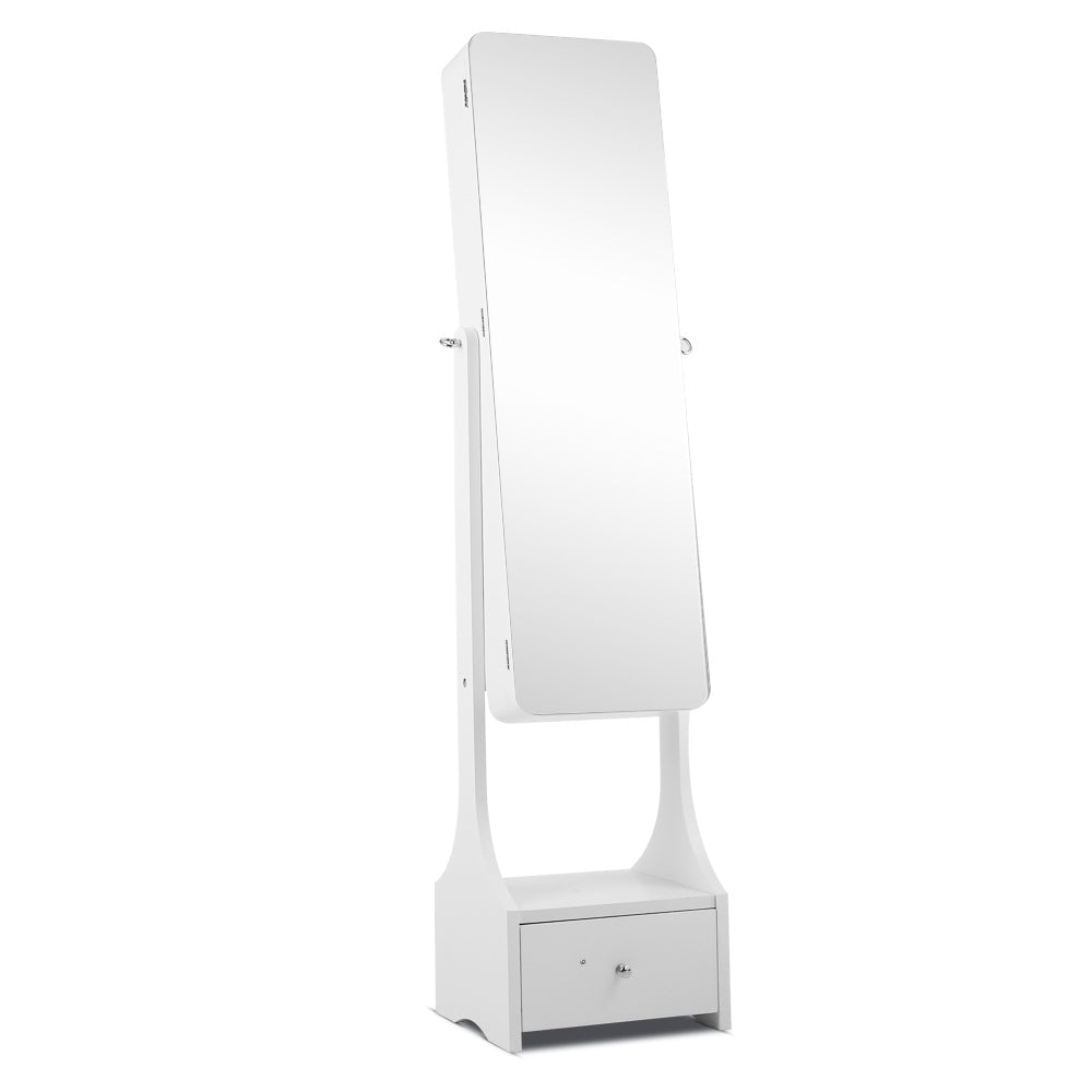 Jewellery Cabinet with Mirror and LED Light - White