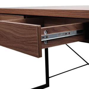 Artiss Metal Desk with Drawer - Walnut