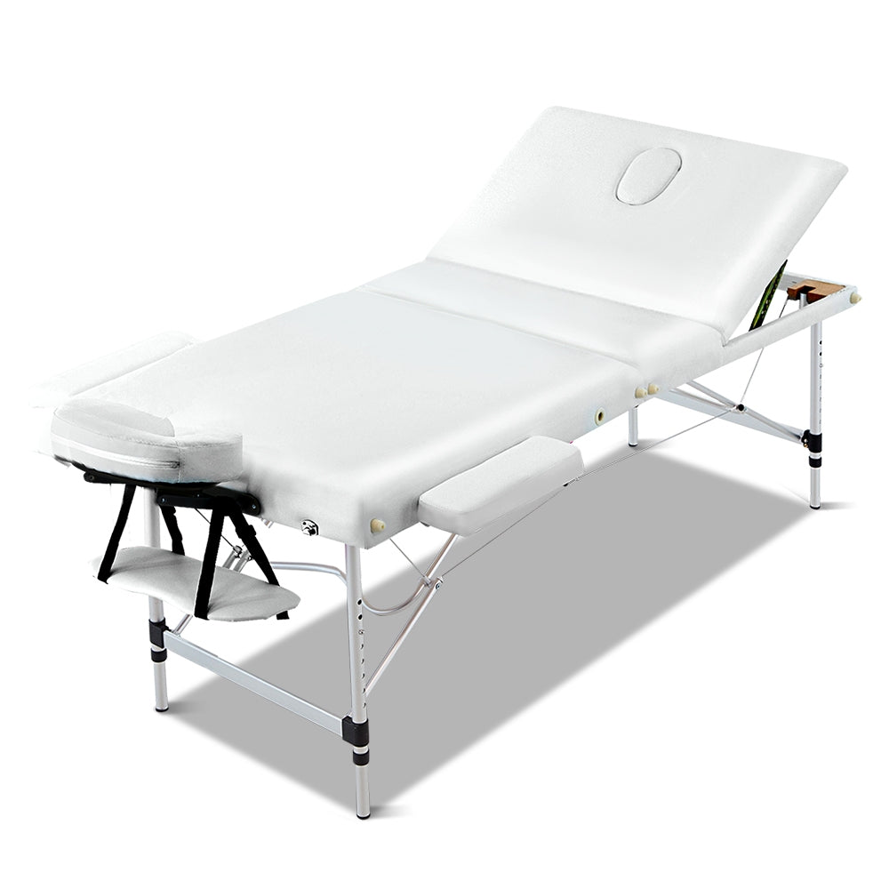 Zenses 70cm Wide Portable Aluminium Massage Table 3 Fold Treatment Beauty Therapy White