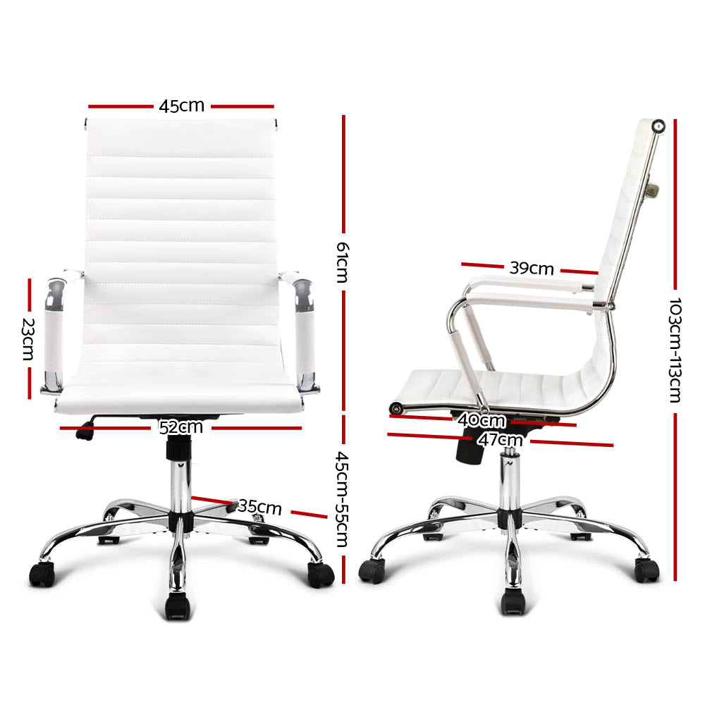 Artiss Eames Replica Office Chairs PU Leather Executive Work Computer Seat White