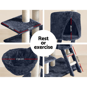 i.Pet 244cm Multi Level Cat Scratching Post Grey