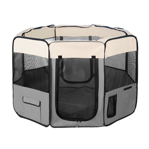 i.Pet Portable Soft Pet Play Pen - Grey