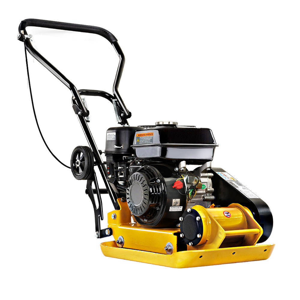 "Giantz 21"" Plate Compactor 6.5HP Compactors 61KG Vibration Rammer with Wheels"