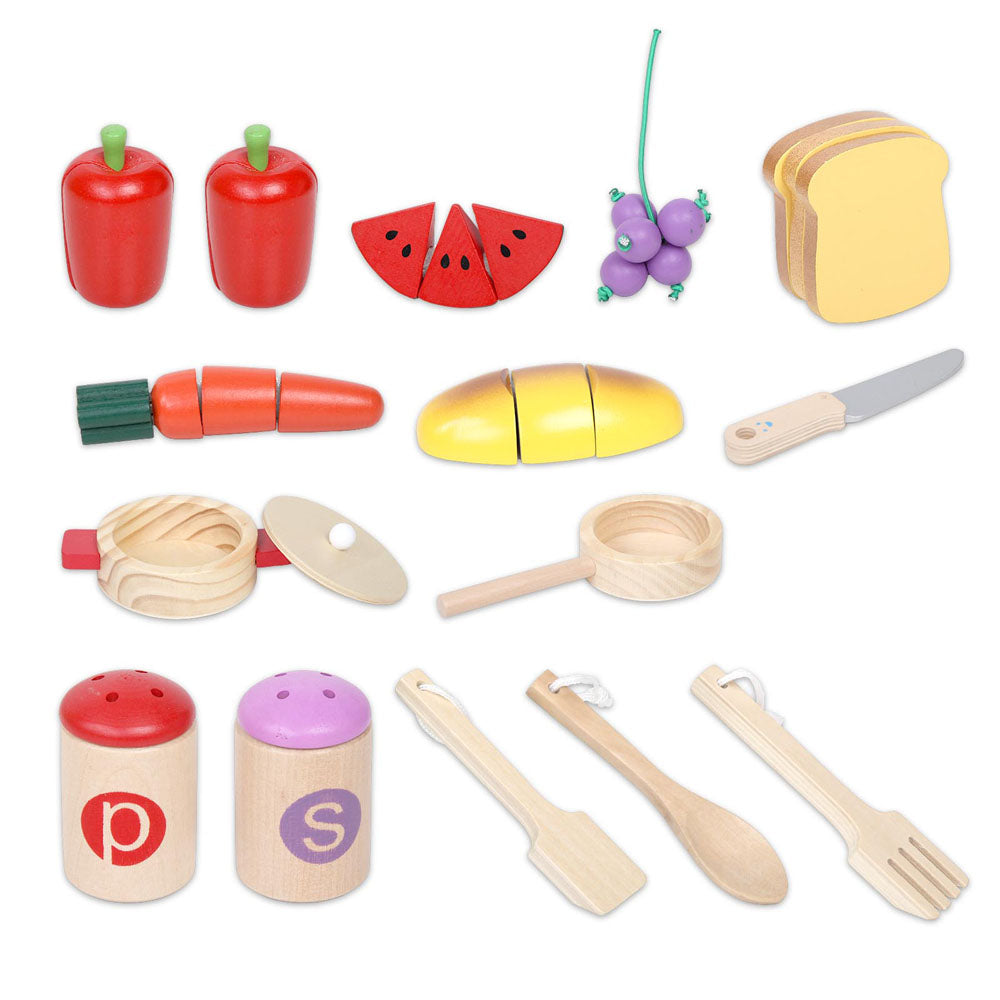 Keezi Kids Wooden Kitchen Play Set - Natural & White