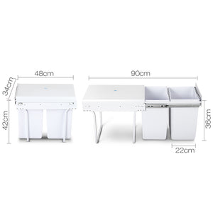 Set of 2 20L Twin Pull Out Bins - White