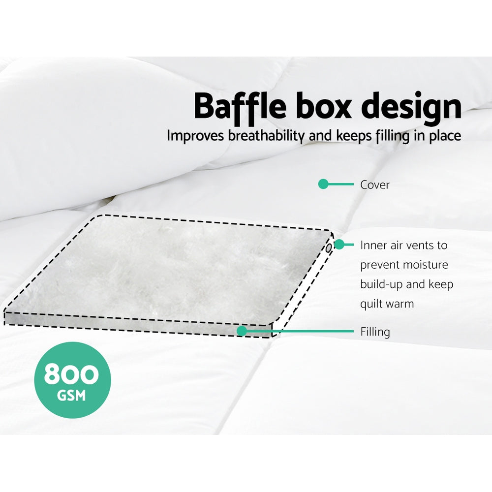 Giselle Bedding 800GSM Microfiber Microfibre Bamboo Quilt Winter Doona Double
