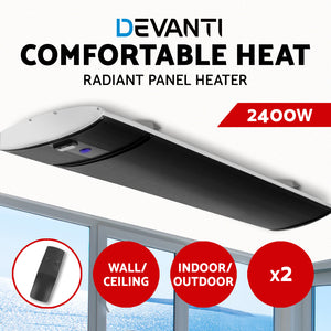 Devanti 2X 2400W Electric Radiant Strip Heater Outdoor Panel Heat Bar Remote Control Black