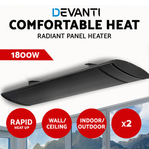 Devanti 2X 1800W Electric Infared Radiant Strip Heater Panel Outdoor Heat Bar Black