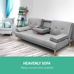 Artiss 3 Seater Fabric Sofa Bed - Grey