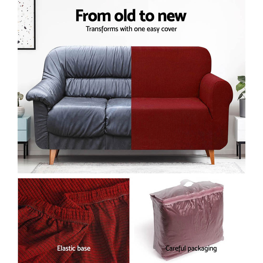 Artiss High Stretch Sofa Cover Couch Protector Slipcovers 1 Seater Burgundy