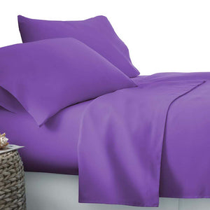 Giselle Bedding King Size 4 Piece Micro Fibre Sheet Set - Purple