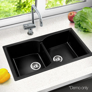Cefito 860 x 500mm Granite Stone Double Sink - Black