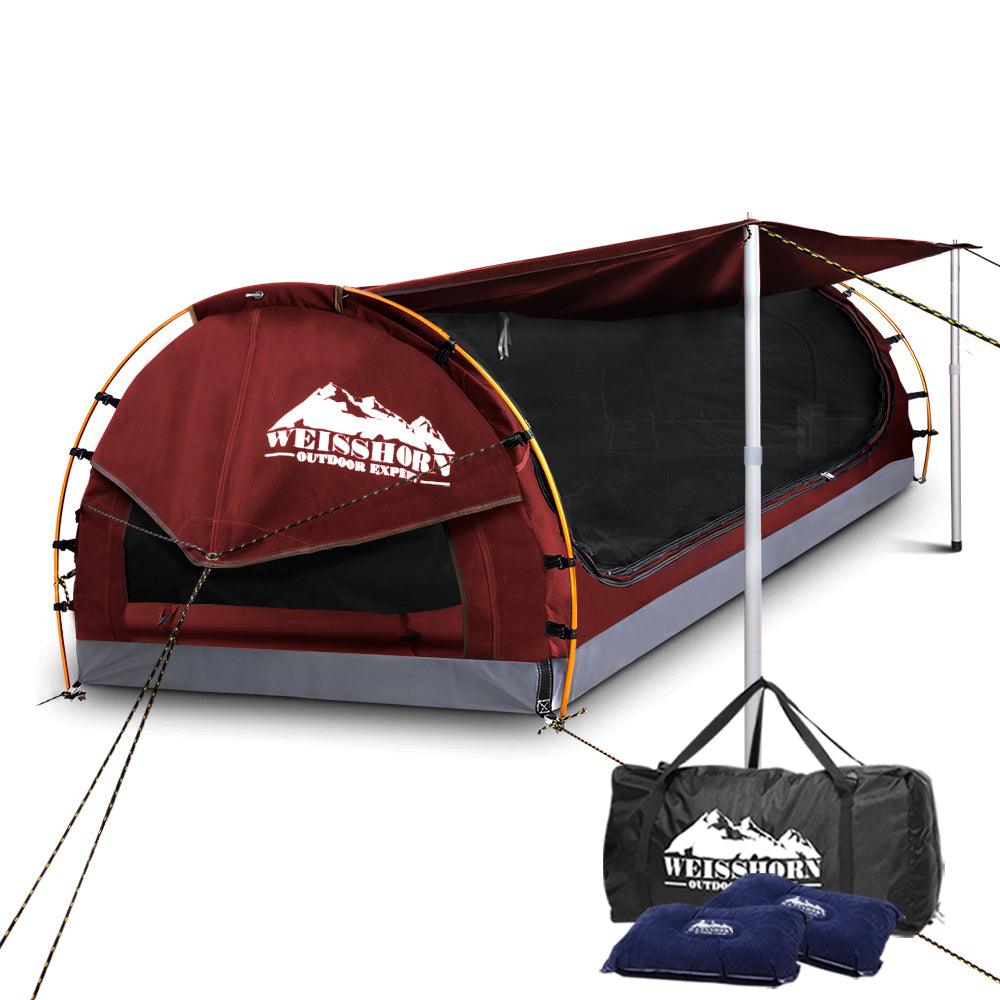 Weisshorn Double Swag Camping Swag Canvas Tent - Red