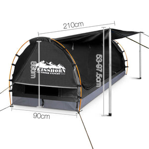 Weisshorn King Single Swag Camping Swag Canvas Tent - Dark Grey