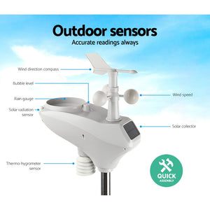 Devanti Wireless WiFi Professional Weather Station Solar Sensor LCD UV Light