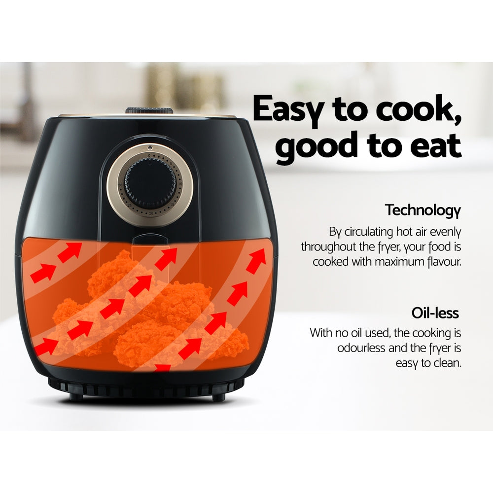 Devanti 4L Oil Free Air Fryer - Black