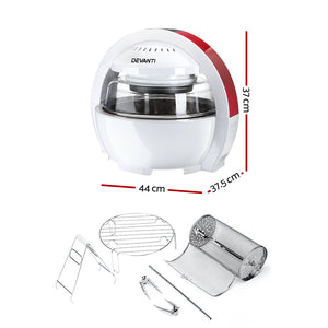 Devanti 13L Air Fryer Oven Cooker - White & Red