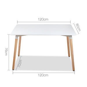Artiss Rectangular Beech Timber Dining Table - White