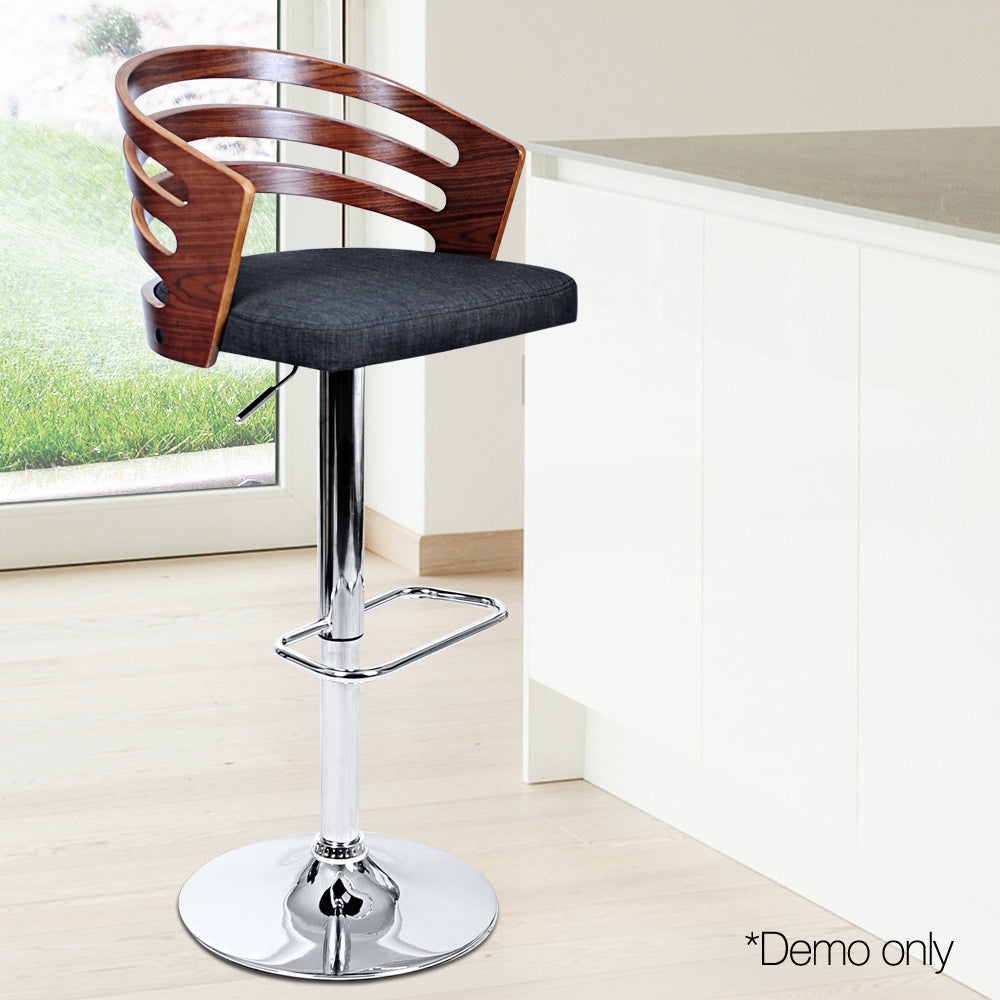 Artiss Wooden Bar Stool with Fabric Seat - Dark Grey