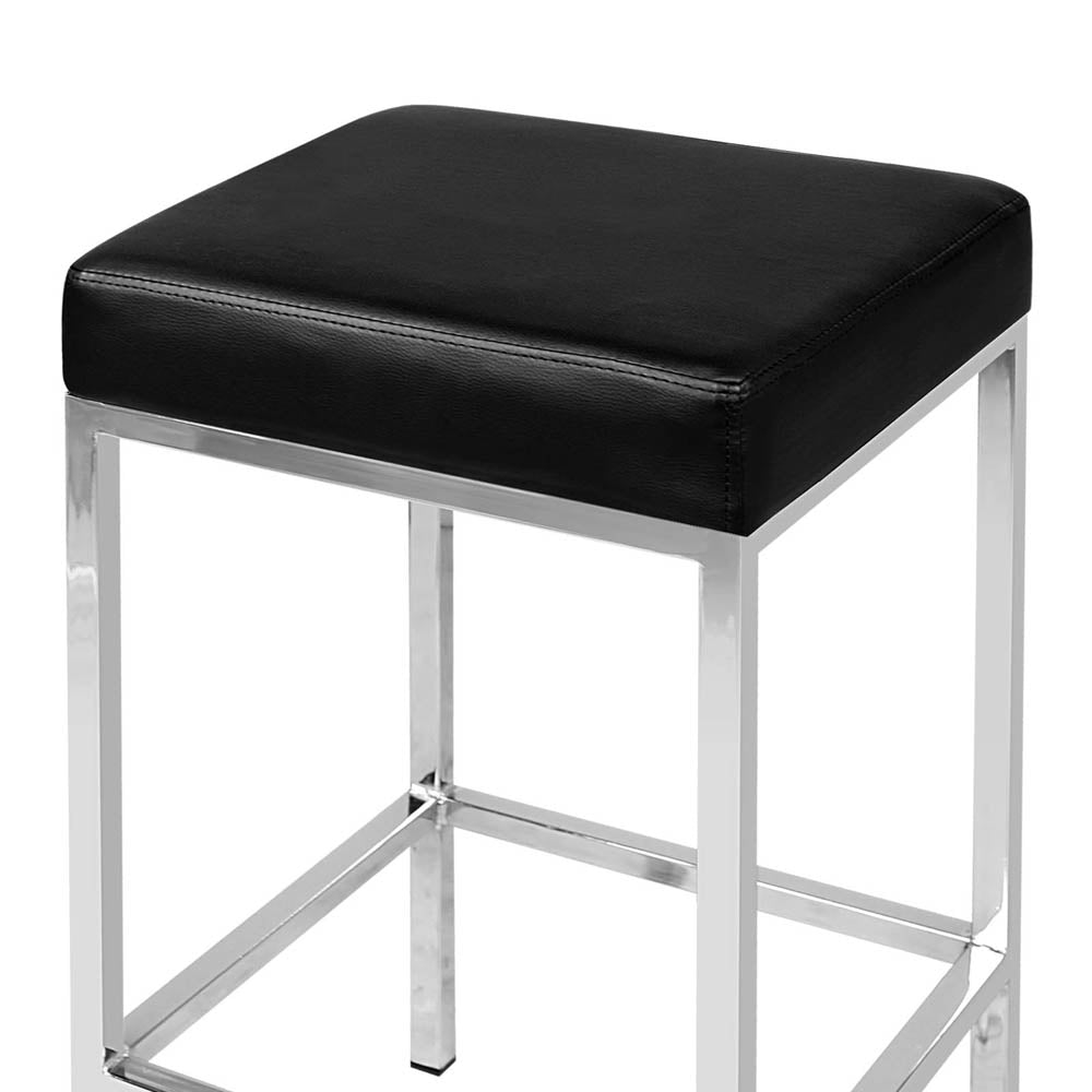 Artiss Set of 2 PU Leather Backless Bar Stools - Black