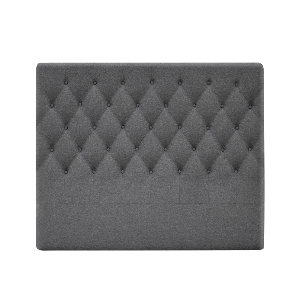 Artiss King Size Upholstered Fabric Head Board - Grey