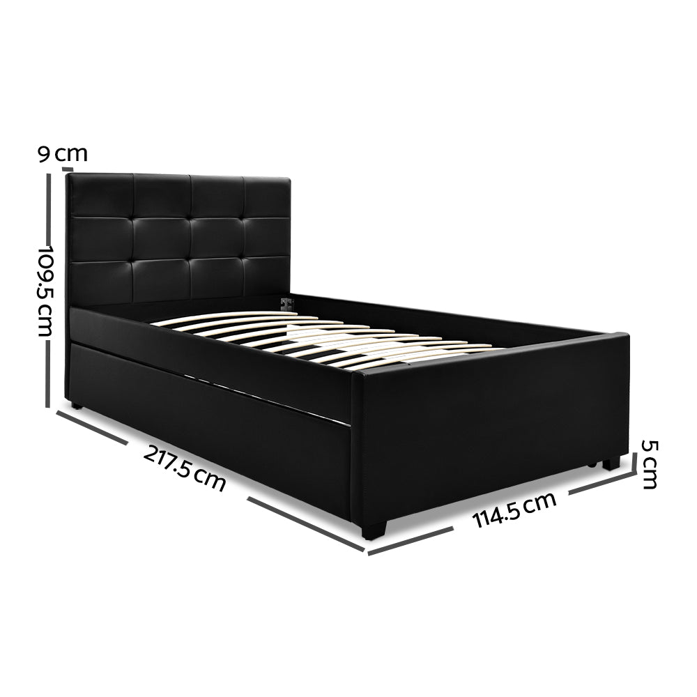 Artiss King Single Size Trundle Bed Frame  Headboard - Black