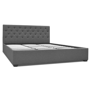 Artiss King Size Fabric Bed Frame Headboard - Grey