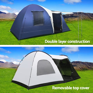Weisshorn 8 Person Canvas Dome Camping Tent - Navy & Grey