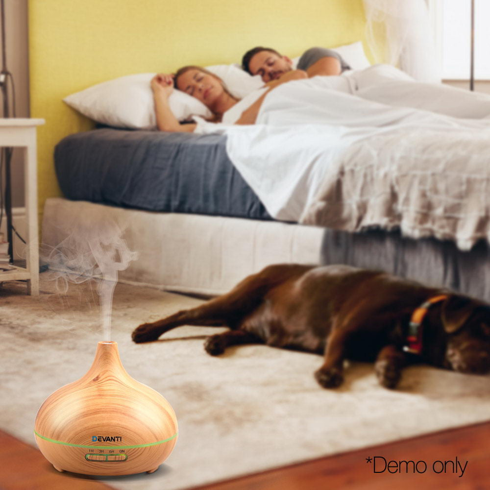 Devanti 300ml 4 in 1 Aroma Diffuser - Light Wood