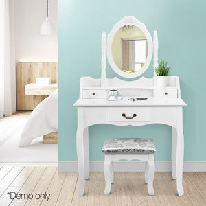 Artiss 3 Drawer Dressing Table with Mirror - White