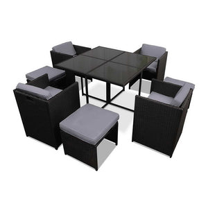 Gardeon 9 Piece Wicker Outdoor Dining Set - Black & Grey