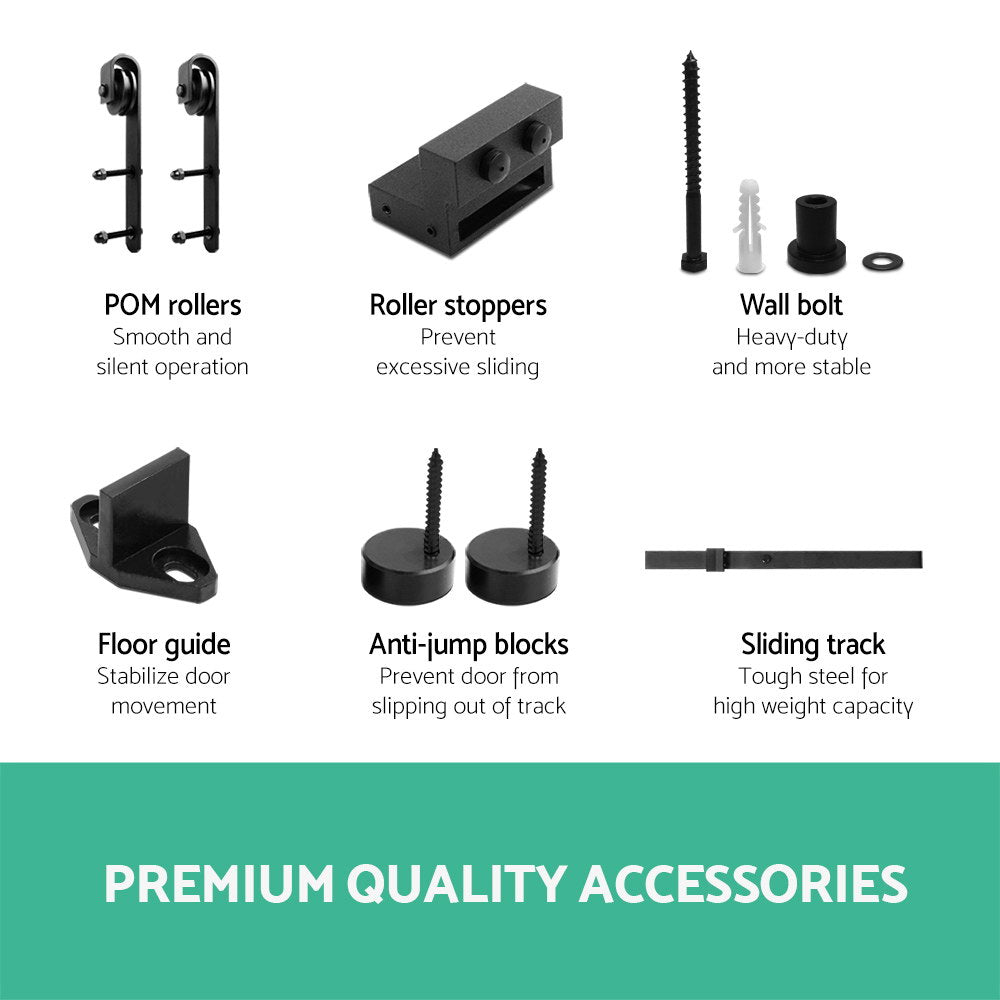 2.44M Sliding Barn Door Hardware - Black
