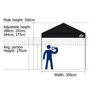 Instahut Gazebo Pop Up Marquee 3x3m Outdoor Tent Folding Wedding Gazebos Black