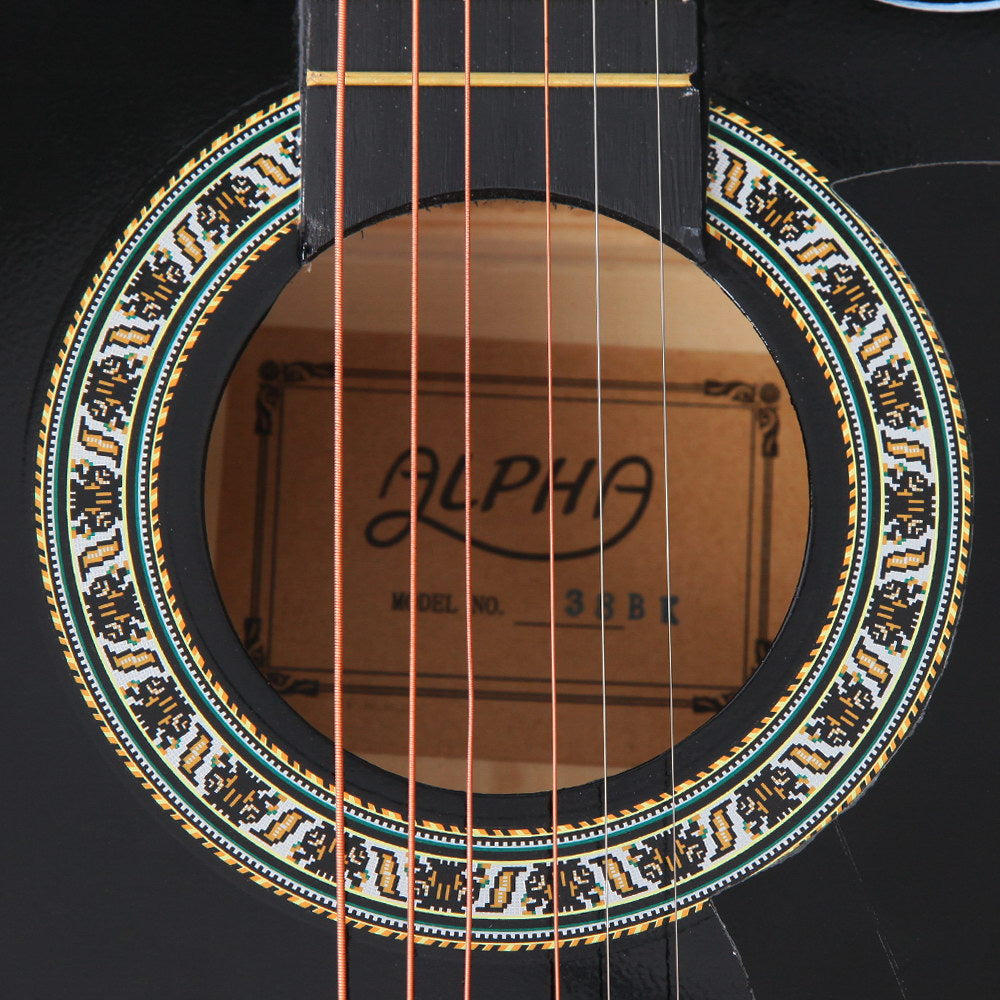 Alpha 38 Inch Wooden Acoustic Guitar - Black
