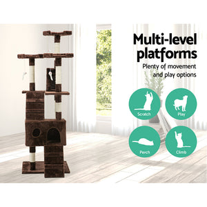 i.Pet Cat Scratching Tree Post Sisal Pole 180cm Brown