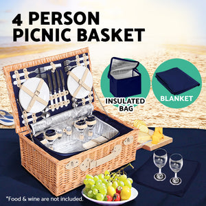 Alfresco 4 Person Picnic Basket Baskets Blue Deluxe Outdoor Corporate Blanket Park