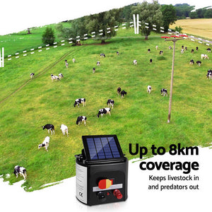 Giantz 8km Solar Power Electric Fence Charger Energiser