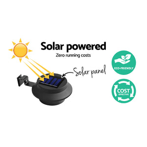 Set of 4 Solar Powered Sensor Gutter Lights-Black