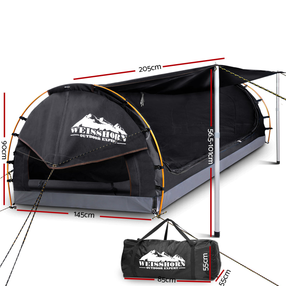 Weisshorn Double Swag Camping Swag Canvas Tent - Dark Grey
