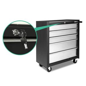 Giantz 5 Drawer Mechanic Tool Box Storage Trolley - Black & Grey